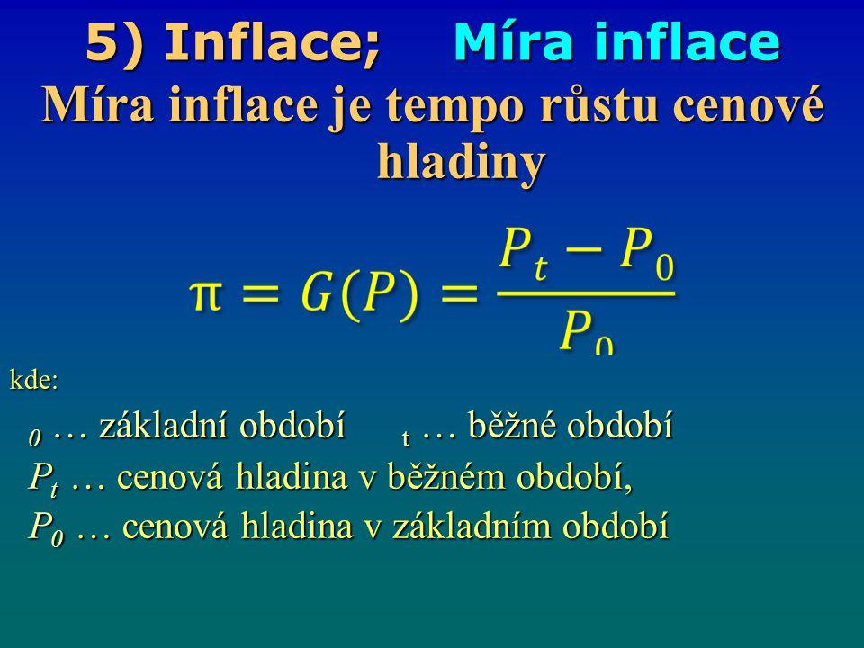 5) Inflace; Míra inflace Míra inflace je tempo růstu cenové hladiny kde: 0 … základní období t … běžné období 0 … základní období t … běžné období P t