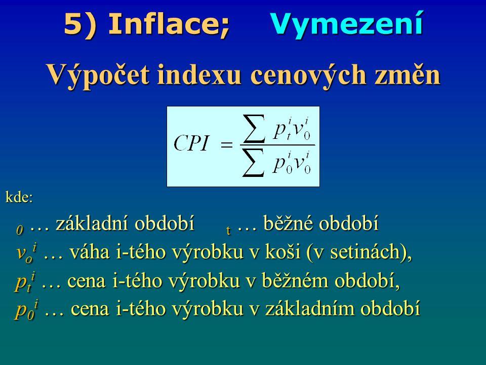 5) Inflace; Vymezení Výpočet indexu cenových změn kde: 0 … základní období t … běžné období 0 … základní období t … běžné období v o i … váha i-tého v