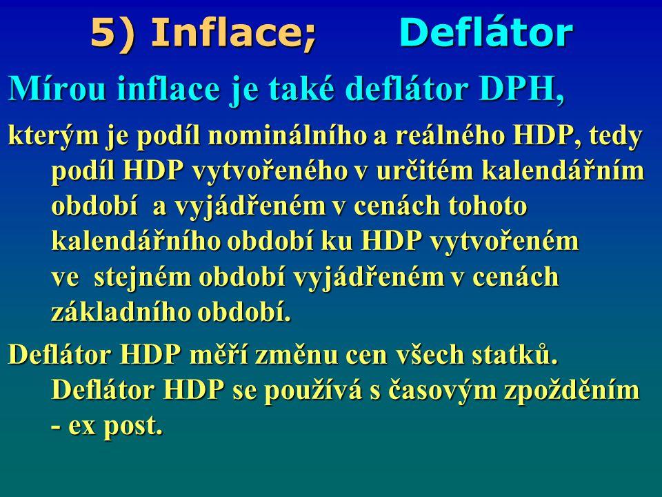 5) Inflace; Deflátor Mírou inflace je také deflátor DPH, kterým je podíl nominálního a reálného HDP, tedy podíl HDP vytvořeného v určitém kalendářním