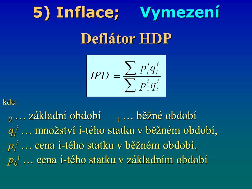 5) Inflace; Vymezení Deflátor HDP kde: 0 … základní období t … běžné období 0 … základní období t … běžné období q t i … množství i-tého statku v běžn