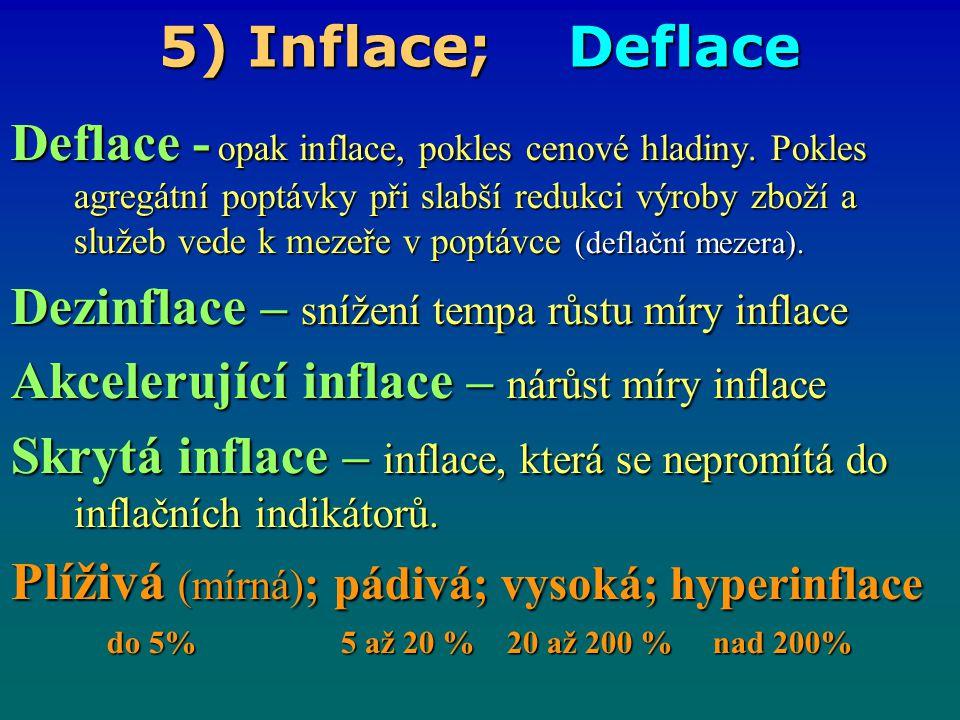5) Inflace; Deflace Deflace - opak inflace, pokles cenové hladiny. Pokles agregátní poptávky při slabší redukci výroby zboží a služeb vede k mezeře v