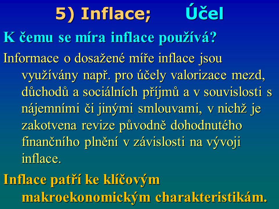 5) Inflace; Účel K čemu se míra inflace používá? Informace o dosažené míře inflace jsou využívány např. pro účely valorizace mezd, důchodů a sociálníc