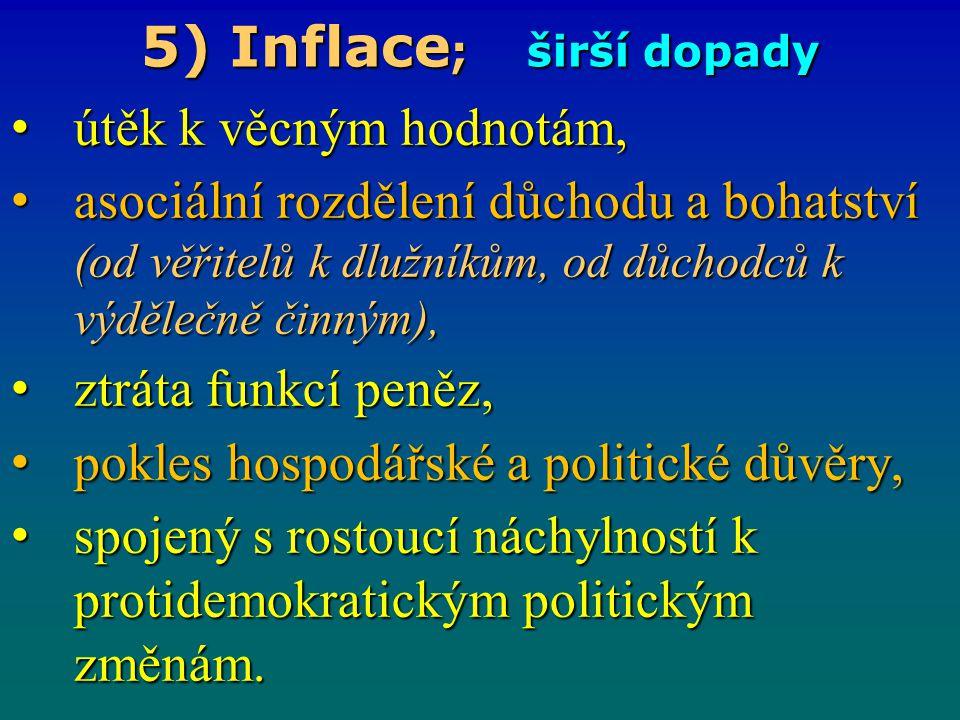5) Inflace ; širší dopady útěk k věcným hodnotám, útěk k věcným hodnotám, asociální rozdělení důchodu a bohatství (od věřitelů k dlužníkům, od důchodc