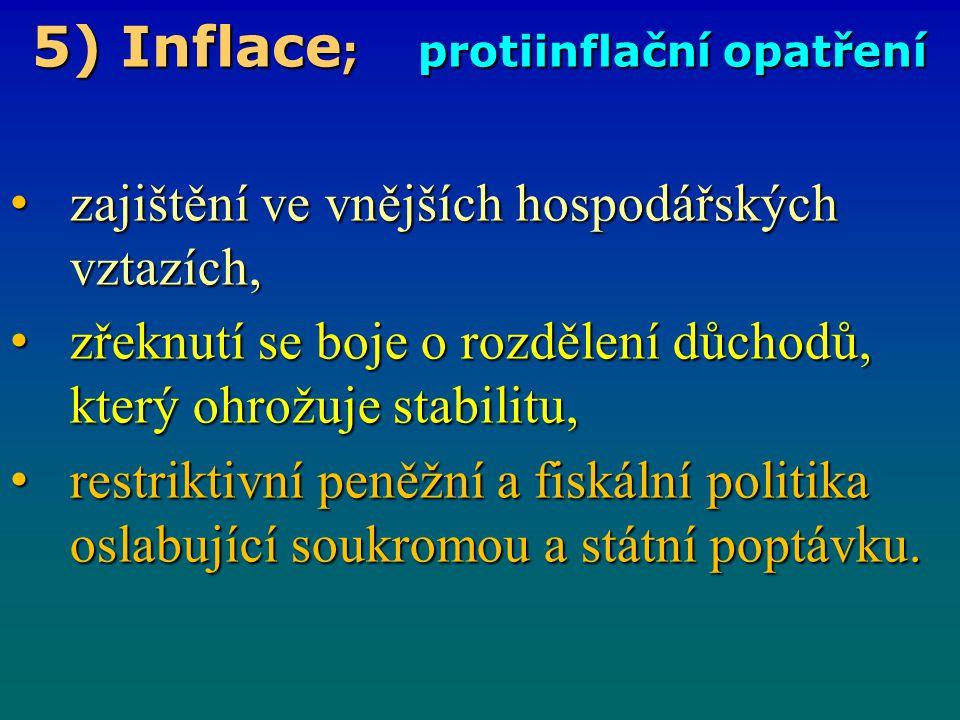 5) Inflace ; protiinflační opatření zajištění ve vnějších hospodářských vztazích, zajištění ve vnějších hospodářských vztazích, zřeknutí se boje o roz