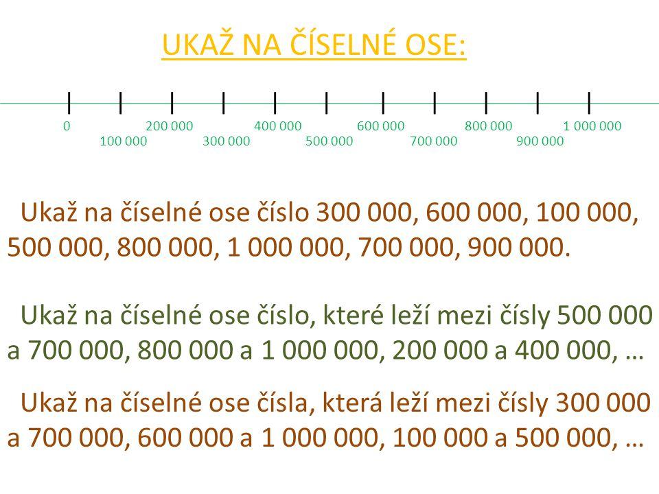||||||||||| UKAŽ NA ČÍSELNÉ OSE: 0 100 000 200 000 300 000 400 000 500 000 600 000 700 000 800 000 900 000 1 000 000 Ukaž na číselné ose číslo 300 000