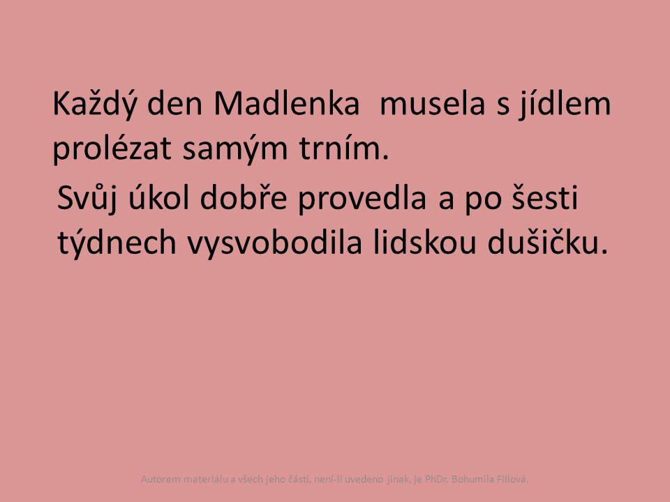 Každý den Madlenka musela s jídlem prolézat samým trním.