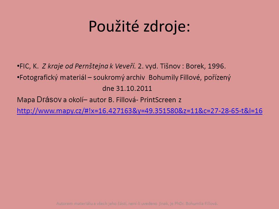 Použité zdroje: FIC, K. Z kraje od Pernštejna k Veveří.