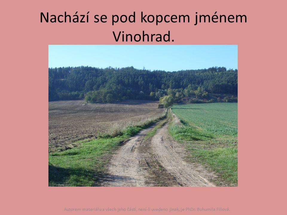 Nachází se pod kopcem jménem Vinohrad.