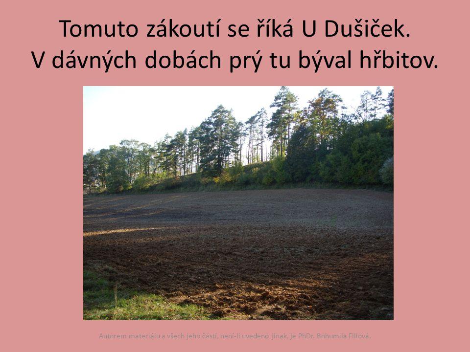 Tomuto zákoutí se říká U Dušiček. V dávných dobách prý tu býval hřbitov.