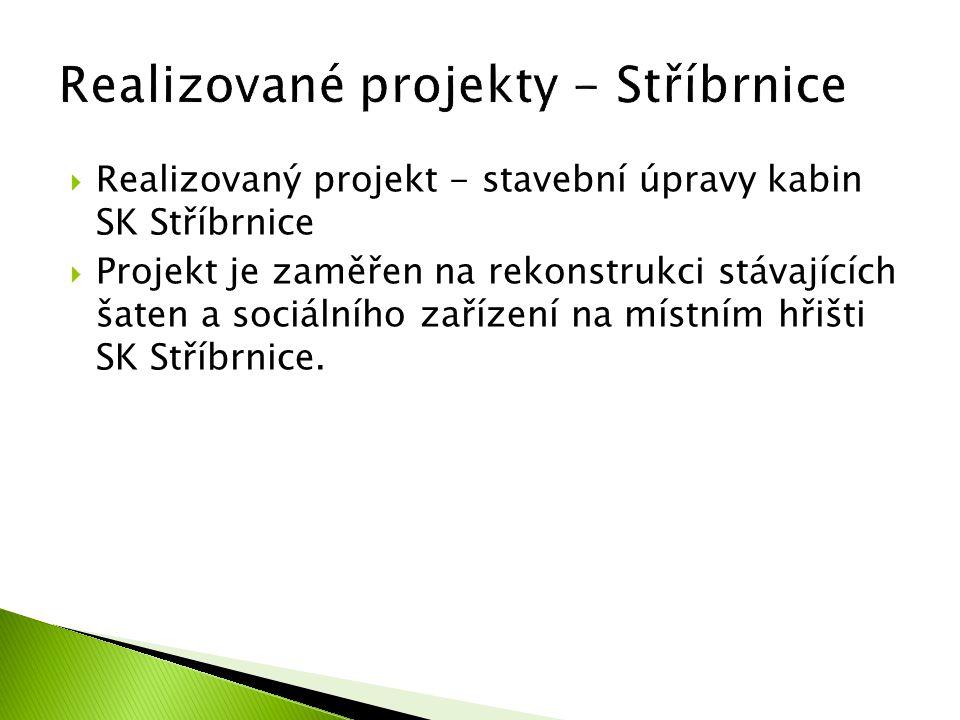 Realizovaný projekt - stavební úpravy kabin SK Stříbrnice  Projekt je zaměřen na rekonstrukci stávajících šaten a sociálního zařízení na místním hř