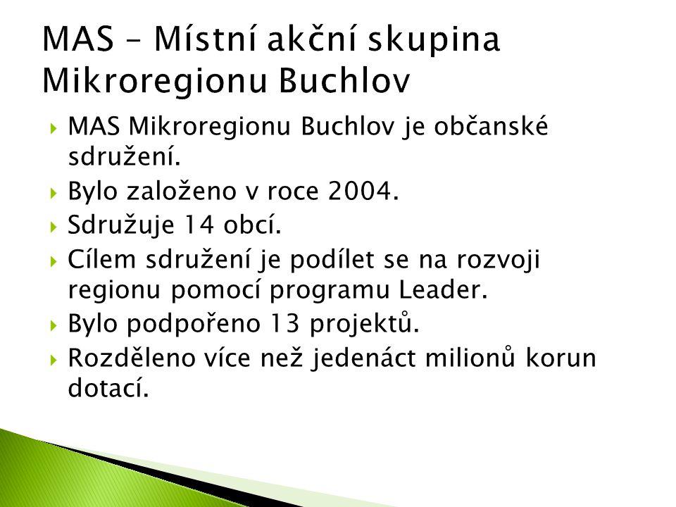  MAS Mikroregionu Buchlov je občanské sdružení.  Bylo založeno v roce 2004.  Sdružuje 14 obcí.  Cílem sdružení je podílet se na rozvoji regionu po