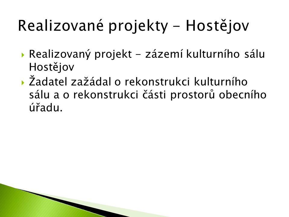  Realizovaný projekt - zázemí kulturního sálu Hostějov  Žadatel zažádal o rekonstrukci kulturního sálu a o rekonstrukci části prostorů obecního úřad