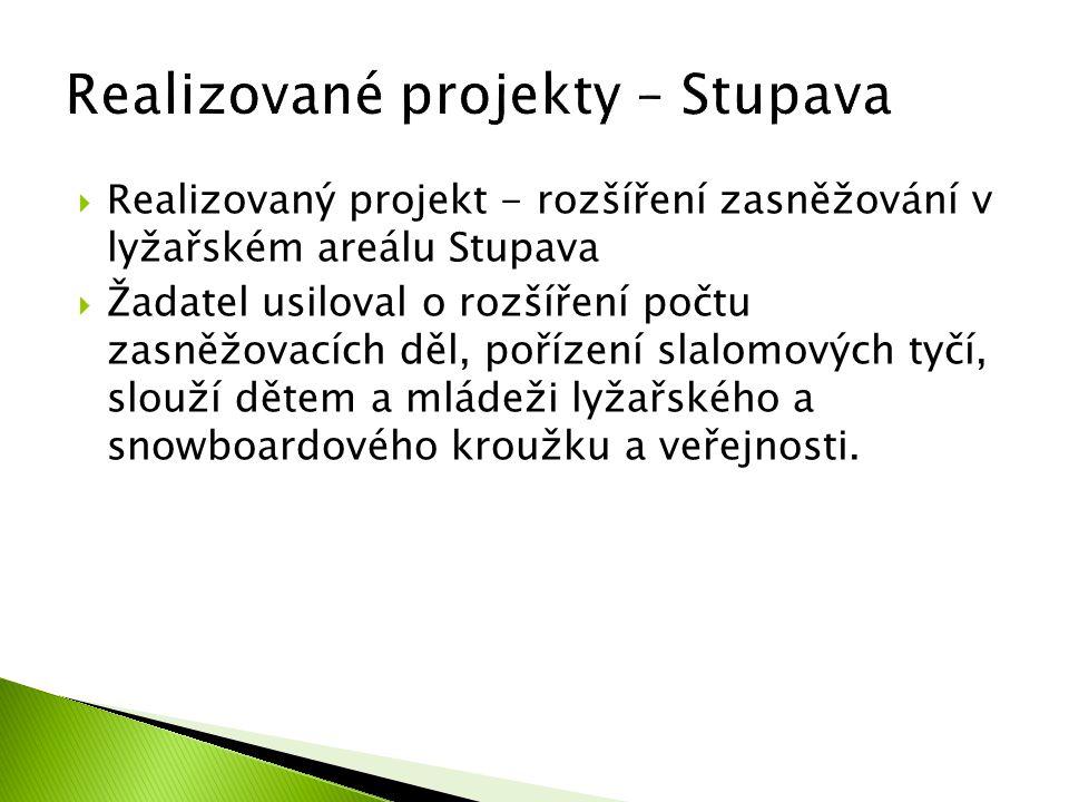  Realizovaný projekt - rozšíření zasněžování v lyžařském areálu Stupava  Žadatel usiloval o rozšíření počtu zasněžovacích děl, pořízení slalomových