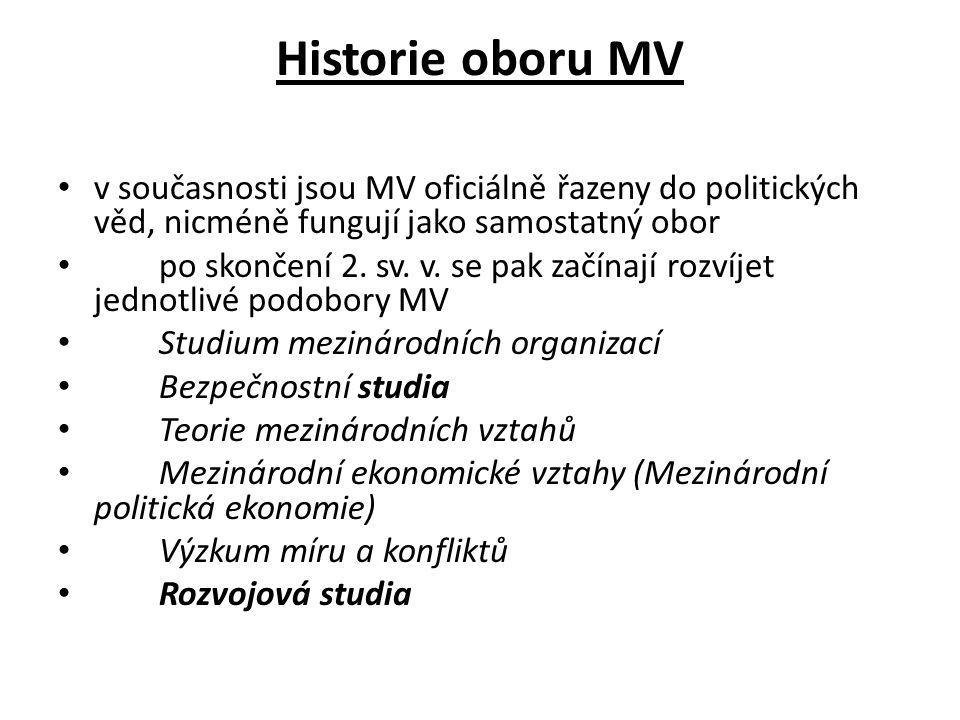 Historie oboru MV v současnosti jsou MV oficiálně řazeny do politických věd, nicméně fungují jako samostatný obor po skončení 2. sv. v. se pak začínaj