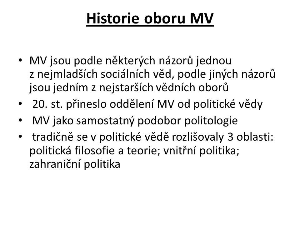 Historie oboru MV MV jsou podle některých názorů jednou z nejmladších sociálních věd, podle jiných názorů jsou jedním z nejstarších vědních oborů 20.