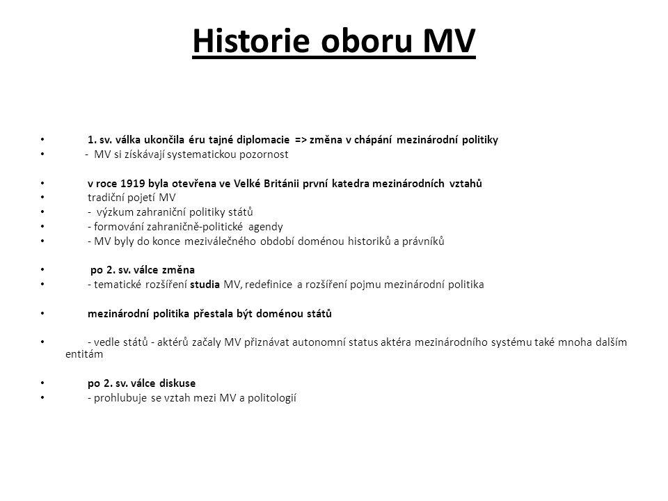 Historie oboru MV 1. sv. válka ukončila éru tajné diplomacie => změna v chápání mezinárodní politiky - MV si získávají systematickou pozornost v roce