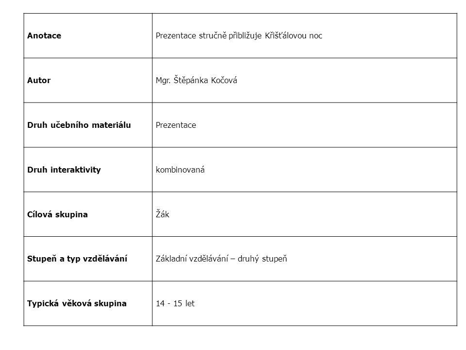AnotacePrezentace stručně přibližuje Křišťálovou noc AutorMgr. Štěpánka Kočová Druh učebního materiáluPrezentace Druh interaktivitykombinovaná Cílová