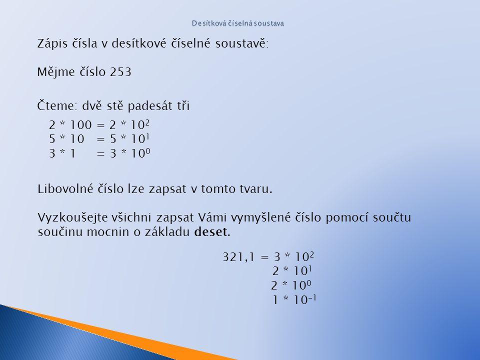 Lidé jsou zvyklí používat k vyjádření čísel desítkovou číselnou soustavou. Základem desítkové soustavy je číslo 10. To znamená, že tato soustava má de