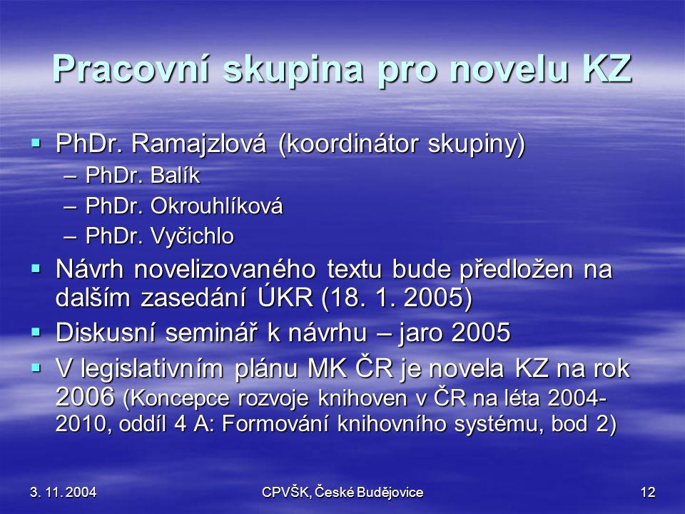 3. 11. 2004CPVŠK, České Budějovice12 Pracovní skupina pro novelu KZ  PhDr.