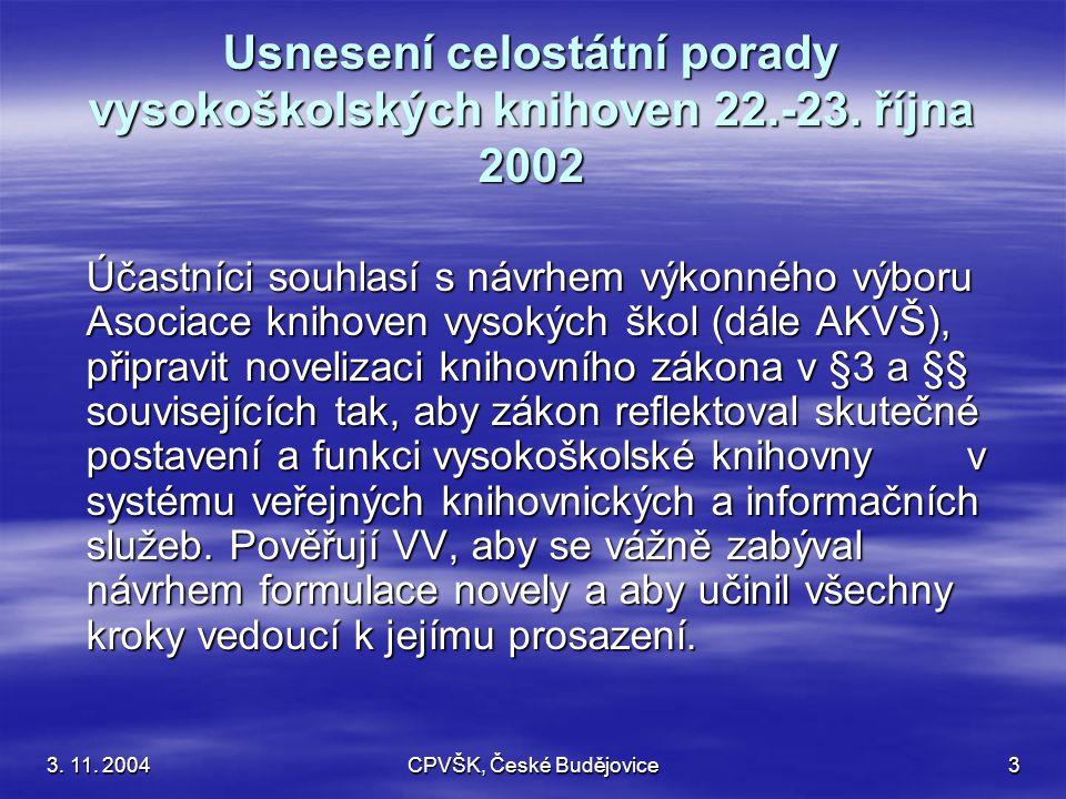 3. 11. 2004CPVŠK, České Budějovice3 Usnesení celostátní porady vysokoškolských knihoven 22.-23.