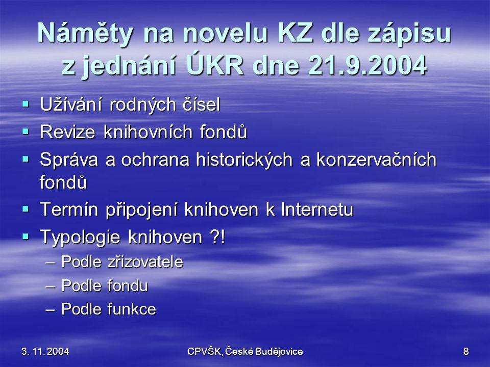 3.11. 2004CPVŠK, České Budějovice9 Adresář evidovaných knihoven - pokus MK o typologii.
