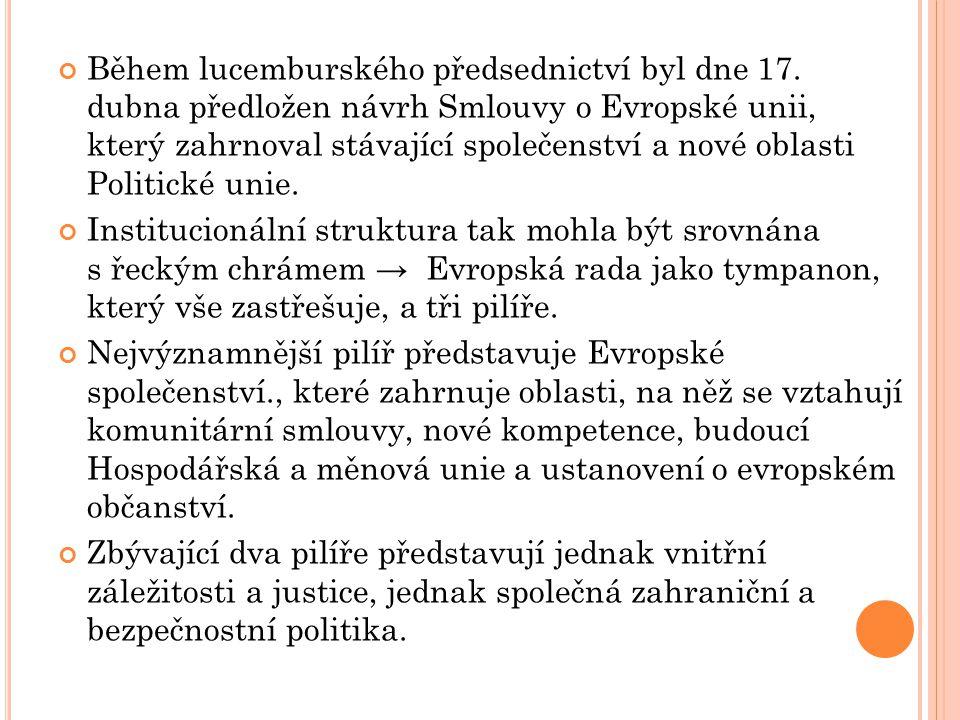 Během lucemburského předsednictví byl dne 17. dubna předložen návrh Smlouvy o Evropské unii, který zahrnoval stávající společenství a nové oblasti Pol