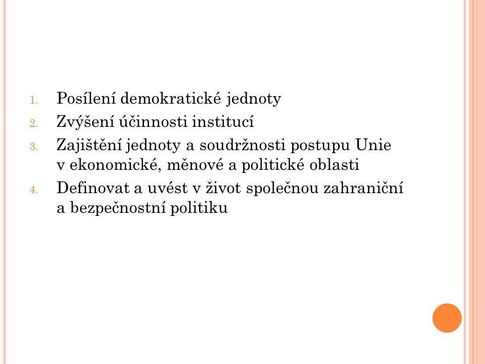 1. Posílení demokratické jednoty 2. Zvýšení účinnosti institucí 3. Zajištění jednoty a soudržnosti postupu Unie v ekonomické, měnové a politické oblas