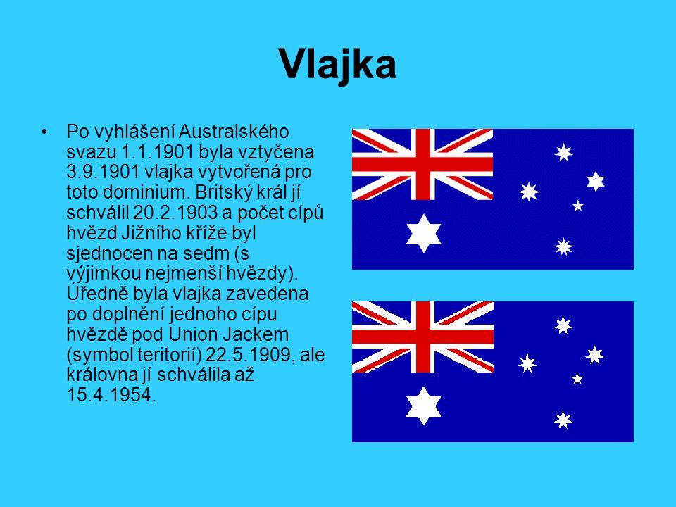 Vlajka Po vyhlášení Australského svazu 1.1.1901 byla vztyčena 3.9.1901 vlajka vytvořená pro toto dominium. Britský král jí schválil 20.2.1903 a počet