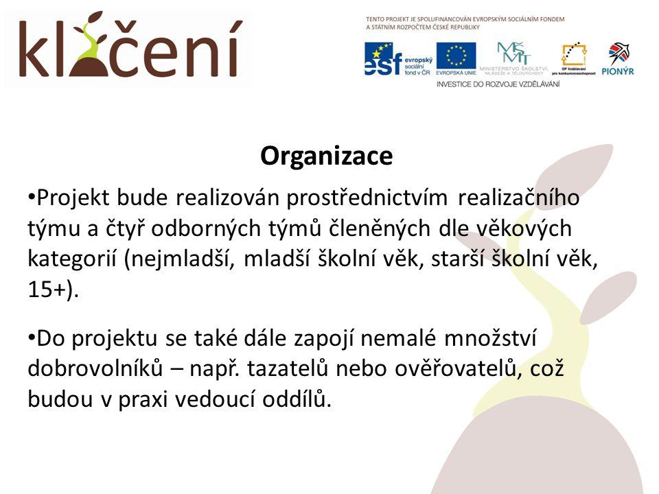Organizace Projekt bude realizován prostřednictvím realizačního týmu a čtyř odborných týmů členěných dle věkových kategorií (nejmladší, mladší školní věk, starší školní věk, 15+).