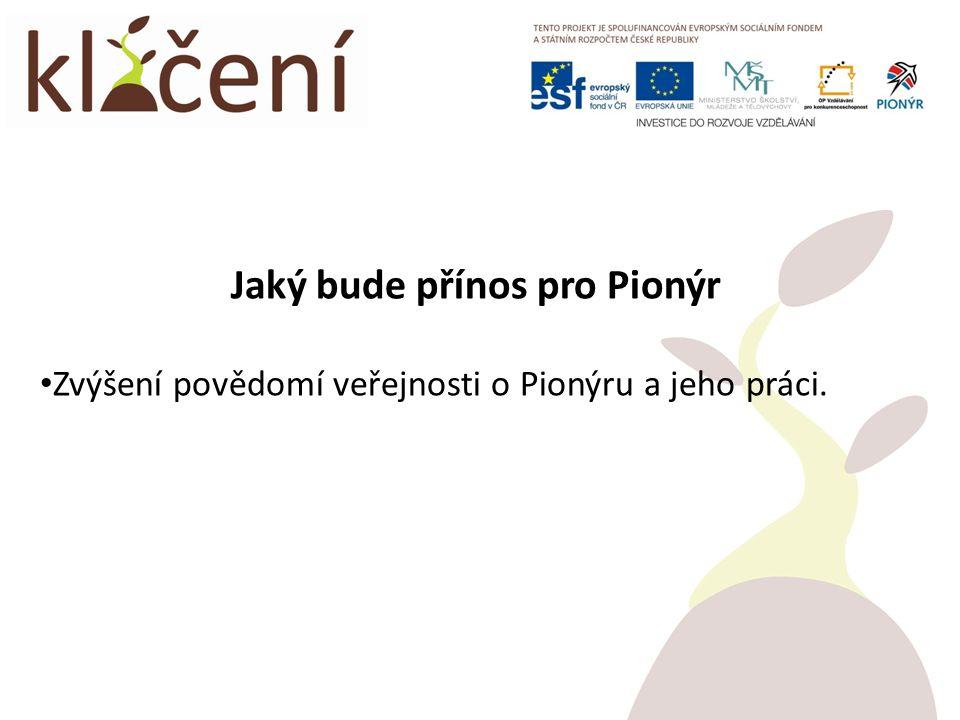 Jaký bude přínos pro Pionýr Zvýšení povědomí veřejnosti o Pionýru a jeho práci.