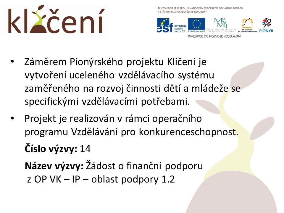 Záměrem Pionýrského projektu Klíčení je vytvoření uceleného vzdělávacího systému zaměřeného na rozvoj činnosti dětí a mládeže se specifickými vzdělávacími potřebami.