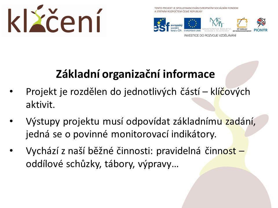 Základní organizační informace Projekt je rozdělen do jednotlivých částí – klíčových aktivit.