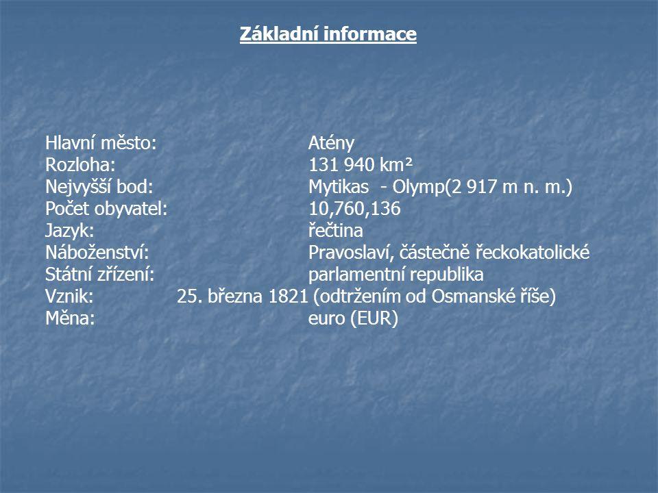 Základní informace Hlavní město:Atény Rozloha:131 940 km² Nejvyšší bod:Mytikas - Olymp(2 917 m n. m.) Počet obyvatel:10,760,136 Jazyk:řečtina Nábožens