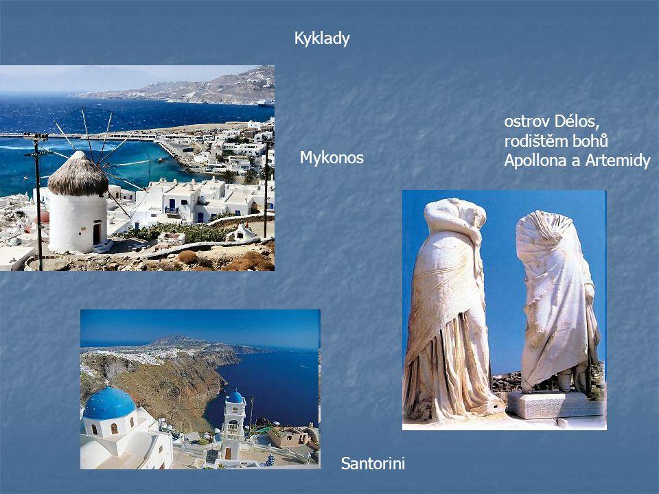 Mykonos ostrov Délos, rodištěm bohů Apollona a Artemidy Kyklady Santorini