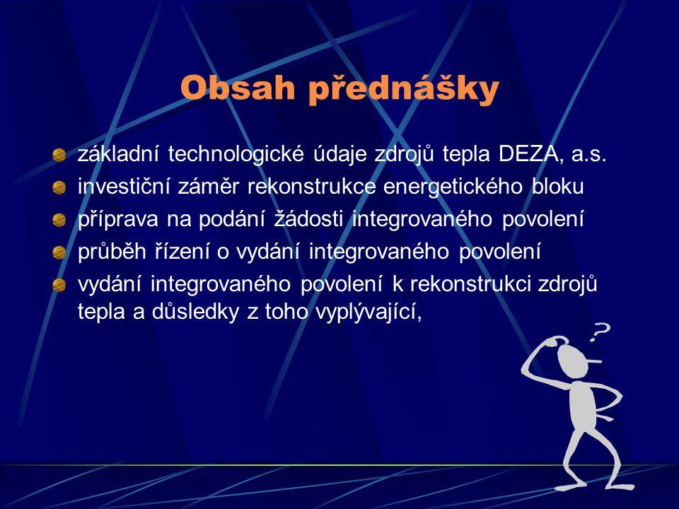 Obsah přednášky základní technologické údaje zdrojů tepla DEZA, a.s. investiční záměr rekonstrukce energetického bloku příprava na podání žádosti inte