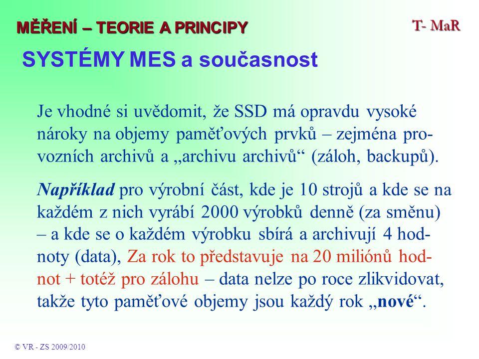 SYSTÉMY MES a současnost T- MaR © VR - ZS 2009/2010 MĚŘENÍ – TEORIE A PRINCIPY Je vhodné si uvědomit, že SSD má opravdu vysoké nároky na objemy paměťo