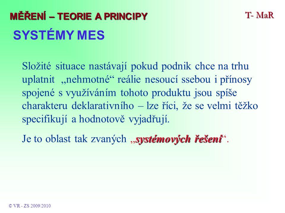 """SYSTÉMY MES T- MaR © VR - ZS 2009/2010 MĚŘENÍ – TEORIE A PRINCIPY Složité situace nastávají pokud podnik chce na trhu uplatnit """"nehmotné"""" reálie nesou"""