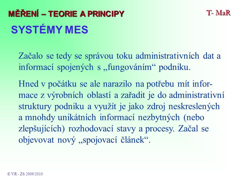 """SYSTÉMY MES T- MaR © VR - ZS 2009/2010 MĚŘENÍ – TEORIE A PRINCIPY Začalo se tedy se správou toku administrativních dat a informací spojených s """"fungováním podniku."""