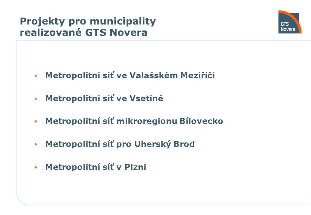 Projekty pro municipality realizované GTS Novera Metropolitní síť ve Valašském Meziříčí Metropolitní síť ve Vsetíně Metropolitní síť mikroregionu Bílo