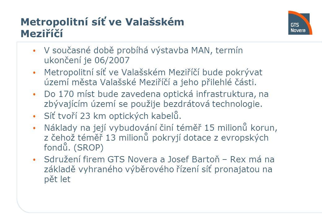 Metropolitní síť ve Valašském Meziříčí V současné době probíhá výstavba MAN, termín ukončení je 06/2007 Metropolitní síť ve Valašském Meziříčí bude po