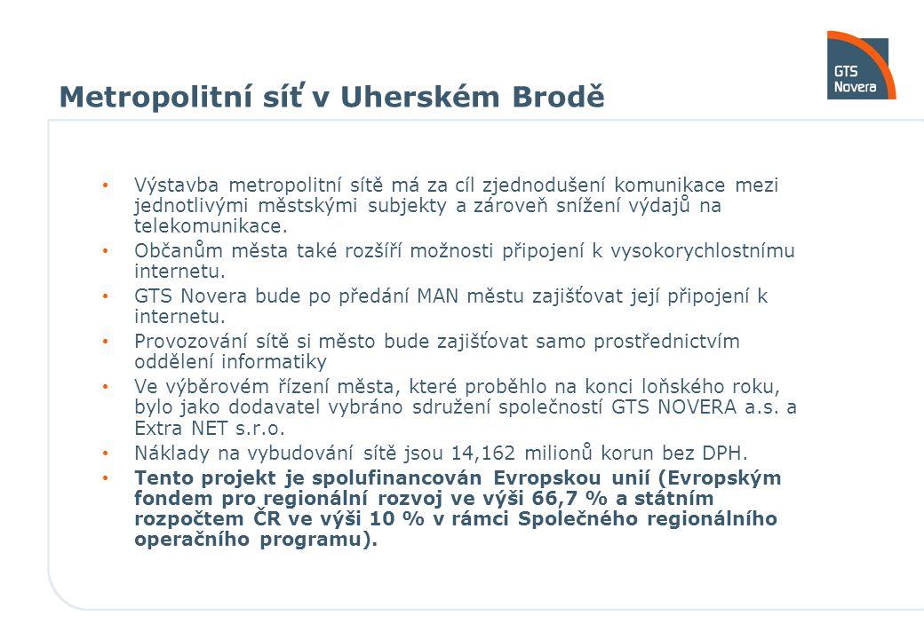 Metropolitní síť v Uherském Brodě Výstavba metropolitní sítě má za cíl zjednodušení komunikace mezi jednotlivými městskými subjekty a zároveň snížení