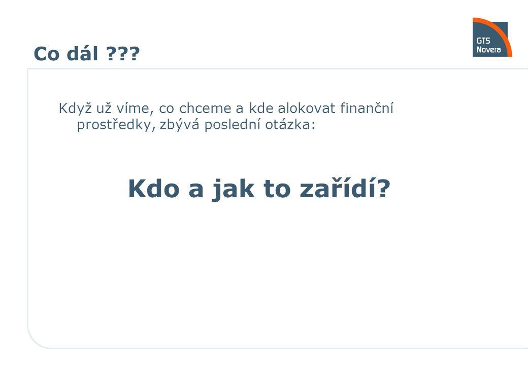 Co dál ??? Když už víme, co chceme a kde alokovat finanční prostředky, zbývá poslední otázka: Kdo a jak to zařídí?