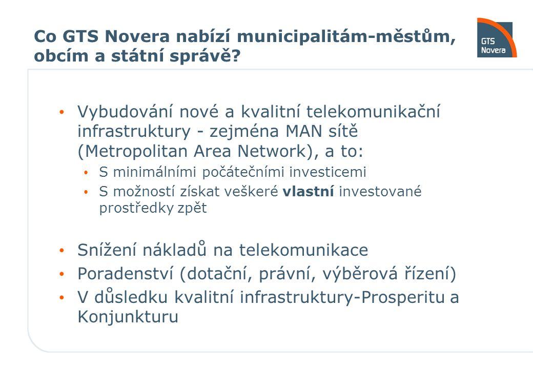 Co GTS Novera nabízí municipalitám-městům, obcím a státní správě? Vybudování nové a kvalitní telekomunikační infrastruktury - zejména MAN sítě (Metrop