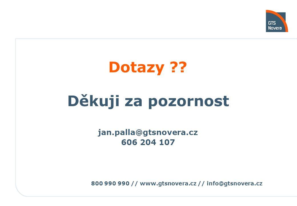 800 990 990 // www.gtsnovera.cz // info@gtsnovera.cz Dotazy ?? Děkuji za pozornost jan.palla@gtsnovera.cz 606 204 107
