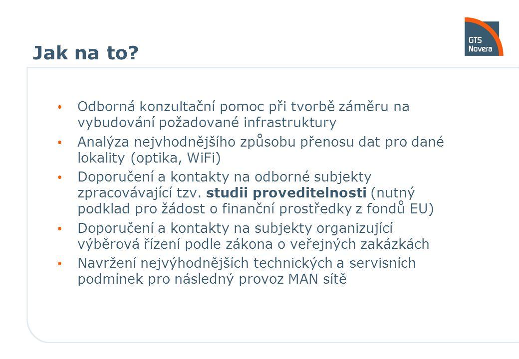 Jak na to? Odborná konzultační pomoc při tvorbě záměru na vybudování požadované infrastruktury Analýza nejvhodnějšího způsobu přenosu dat pro dané lok
