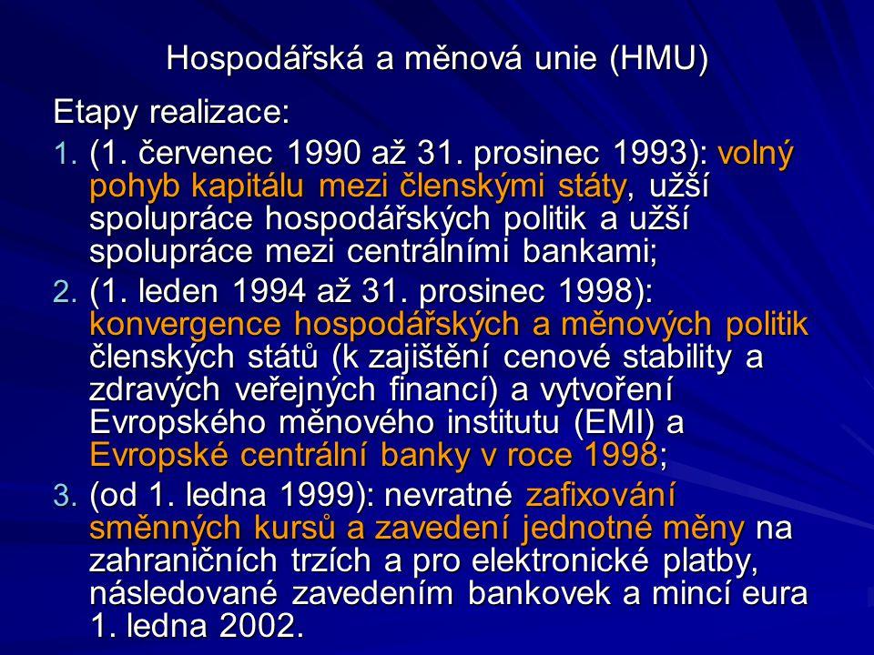 Hospodářská a měnová unie (HMU) Etapy realizace: 1. (1. červenec 1990 až 31. prosinec 1993): volný pohyb kapitálu mezi členskými státy, užší spoluprác