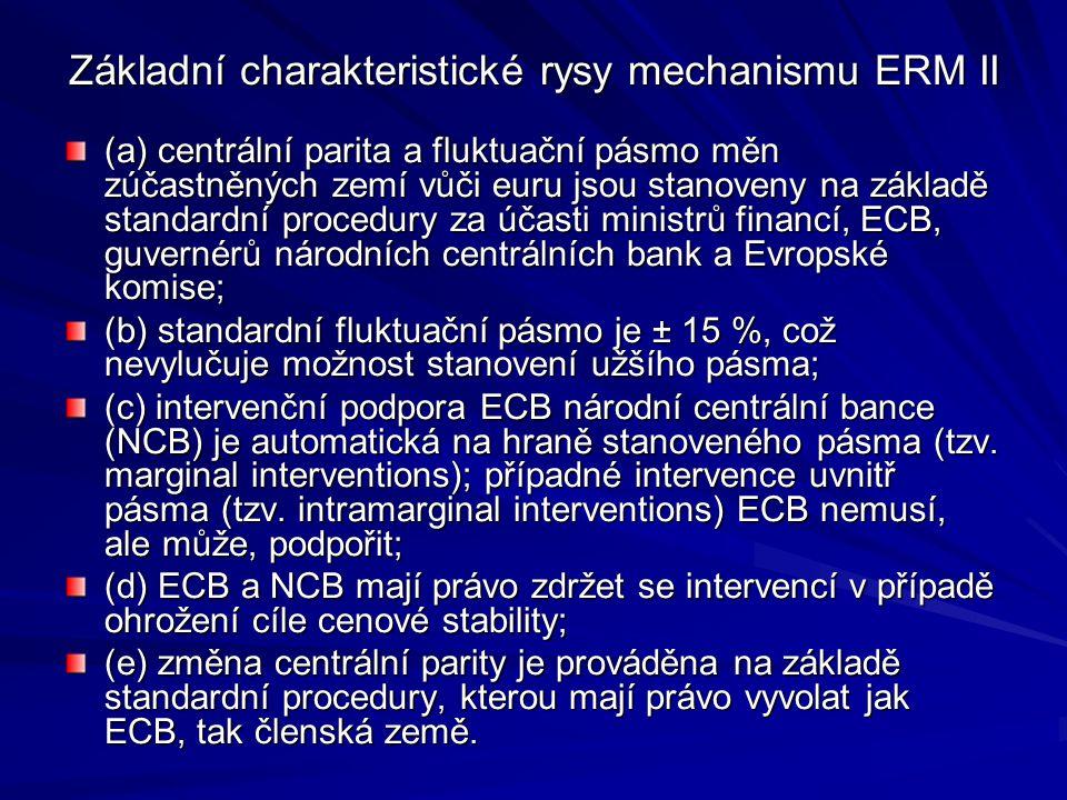 Základní charakteristické rysy mechanismu ERM II (a) centrální parita a fluktuační pásmo měn zúčastněných zemí vůči euru jsou stanoveny na základě sta