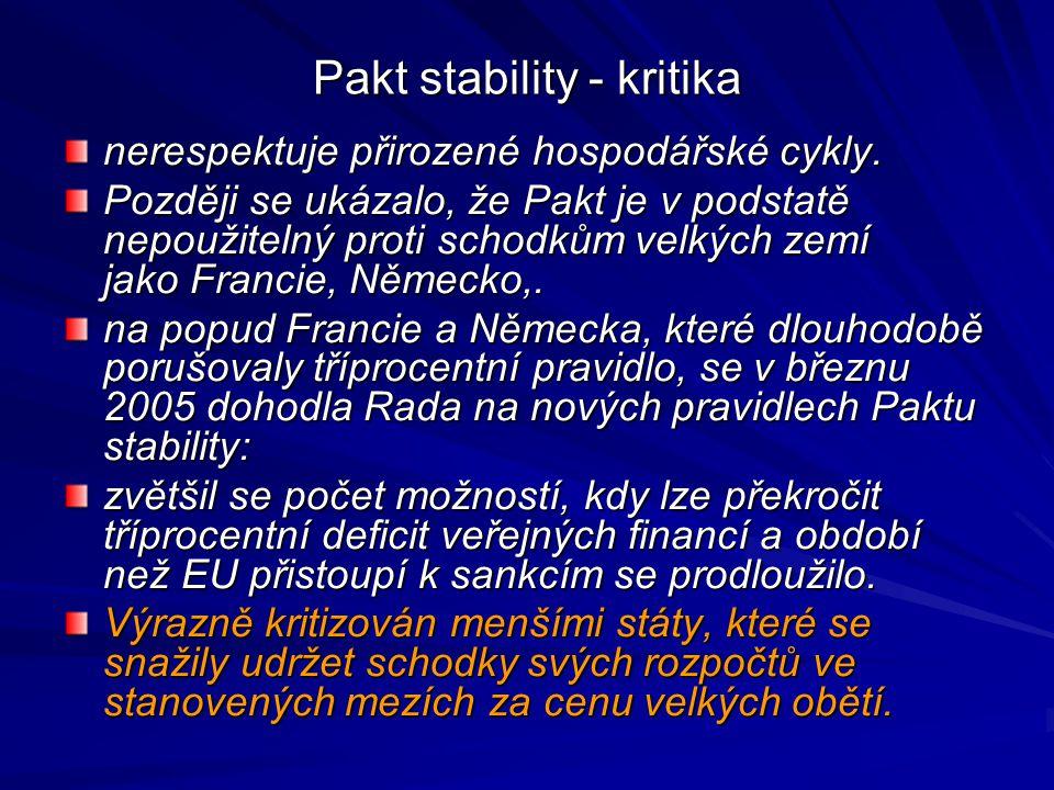 Pakt stability - kritika nerespektuje přirozené hospodářské cykly. Později se ukázalo, že Pakt je v podstatě nepoužitelný proti schodkům velkých zemí
