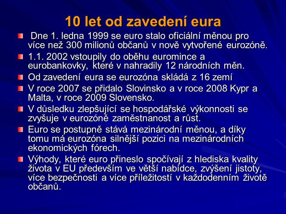 10 let od zavedení eura Dne 1. ledna 1999 se euro stalo oficiální měnou pro více než 300 milionů občanů v nově vytvořené eurozóně. Dne 1. ledna 1999 s