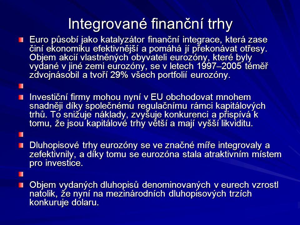 Integrované finanční trhy Euro působí jako katalyzátor finanční integrace, která zase činí ekonomiku efektivnější a pomáhá jí překonávat otřesy. Objem